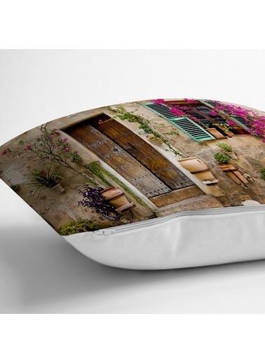 Real Homes Çiçek Penceresi Desen Dijital Baskılı Yastık Kırlent Kılıfı Renkli
